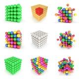 被设置的抽象3d立方体 向量例证