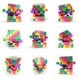 被设置的抽象3d立方体 皇族释放例证