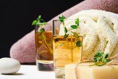 被设置的按摩或芳香疗法:麝香草、油、石头和肥皂 免版税库存照片
