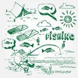 被设置的捕鱼图标 免版税库存图片