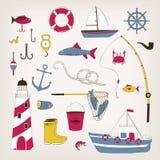 被设置的捕鱼图标 免版税库存照片