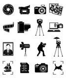 被设置的摄影图标 免版税库存照片