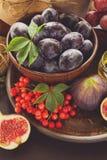 被设置的收获:李子、葡萄、无花果、荚莲属的植物莓果、核桃、蜂蜜和果酱玻璃 库存照片