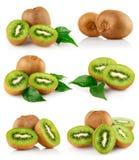 被设置的新鲜水果绿色猕猴桃叶子 免版税库存照片