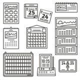 被设置的日历图标 免版税图库摄影