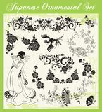 被设置的日本传统装饰品 库存照片