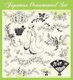被设置的日本传统装饰品 向量例证