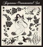 被设置的日本传统装饰品 免版税库存照片