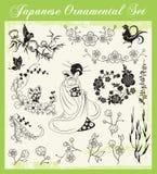 被设置的日本传统装饰品 图库摄影