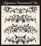 被设置的日本传统装饰品 库存例证
