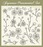 被设置的日本传统装饰品 免版税库存图片
