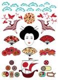 被设置的日本装饰品 库存图片