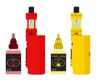被设置的明亮的vape设备 在瓶的Vaping汁液 平的样式 库存照片