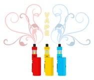 被设置的明亮的vape设备 Vaping液体,烟吸入器 平的styl 库存照片