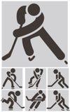 被设置的曲棍球象 免版税库存照片