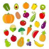 被设置的有机水果和蔬菜概述样式象 免版税图库摄影