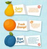被设置的果子横幅 烹调的五颜六色的模板 免版税库存照片