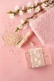 被设置的桃红色温泉:手工制造肥皂、海盐和毛巾酒吧  开花 免版税库存图片