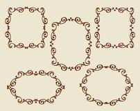 被设置的框架 葡萄酒 为容易编辑修造的井 browne 库存例证