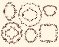 被设置的框架 葡萄酒 为容易编辑修造的井 browne 向量例证