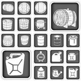 被设置的桶和罐按钮 免版税库存图片
