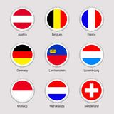 被设置的欧洲国家旗子 传染媒介旗子贴纸汇集 圆的元素 西欧状态 奥地利,比利时 皇族释放例证
