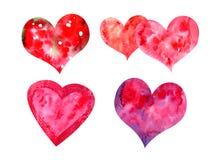被设置的水彩心脏 向量例证