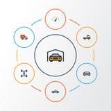 被设置的汽车五颜六色的概述象 速度、汽车、棚子和其他元素的汇集 并且包括标志 皇族释放例证