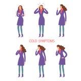 被设置的流感和冷的症状 库存例证