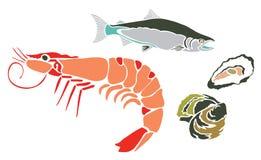被设置的海生物 向量例证