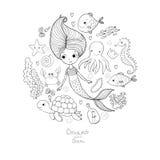被设置的海洋例证 一点逗人喜爱的动画片美人鱼,滑稽的鱼,海星,有笔记的瓶,海藻,各种各样的壳 库存照片