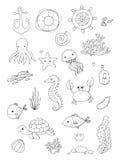 被设置的海洋例证 一点逗人喜爱的动画片滑稽的鱼、海星、瓶有笔记的,海藻、各种各样的壳和螃蟹 库存照片