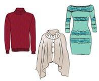 被设置的温暖的女性衣裳。 免版税库存图片