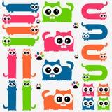 被设置的滑稽的五颜六色的小猫 库存图片