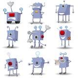 被设置的滑稽的机器人 免版税库存图片