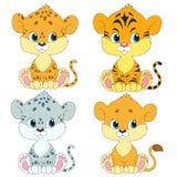 被设置的漫画人物 崽 狮子,豹子,老虎,雪豹 库存照片