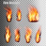 被设置的火火焰 向量 库存例证