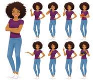 被设置的牛仔裤的非洲妇女 皇族释放例证