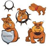 被设置的牛头犬动画片 库存例证