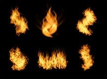 被设置的现实橙色火火焰 库存照片