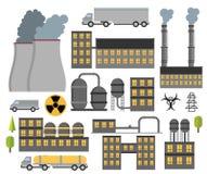 被设置的现代工业平的大厦 植物和工厂 免版税库存照片