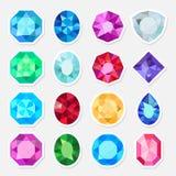 被设置的珠宝或珍贵的宝石贴纸 库存例证