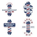 被设置的理发店杆 理发在白色背景隔绝的交谊厅象 理发店标志和标志 设计 库存照片
