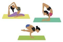 被设置的瑜伽姿势 免版税库存照片