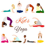 被设置的瑜伽孩子 孩子的体操 免版税库存照片