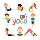 被设置的瑜伽孩子 库存图片