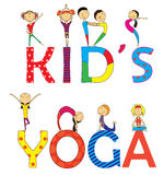 被设置的瑜伽孩子 免版税库存照片