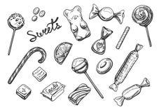 被设置的甜点糖果 库存图片