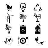 被设置的生态图标 eco图标的收集 免版税库存照片