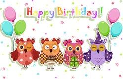 被设置的生日聚会猫头鹰 免版税库存图片